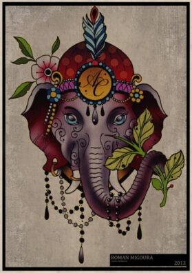 Эскиз тату слон