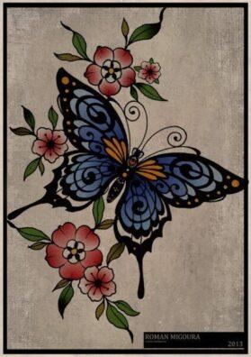 Тату эскиз бабочка