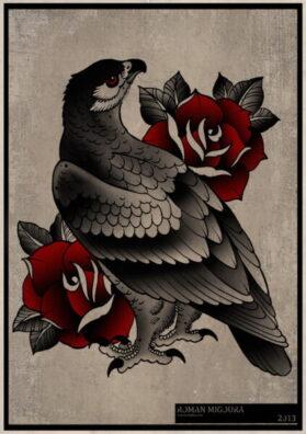 Тату эскиз ястреб и роза