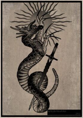 Тату эскиз змей и меч