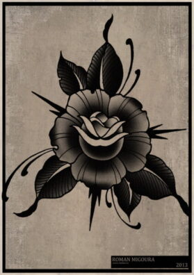 Тату эскиз роза олд скул