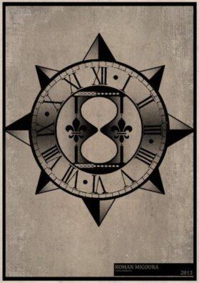 Тату эскиз песочные часы