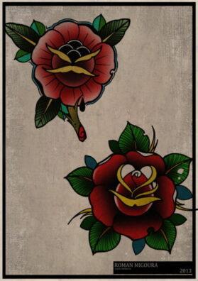 Эскиз тату роза