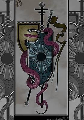 Эскиз тату щит и змея