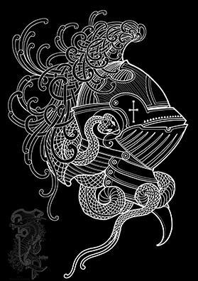 Шлем и змея тату эскиз