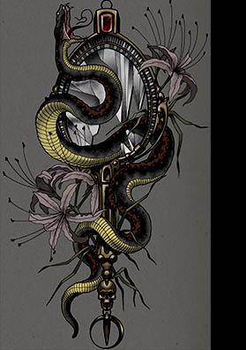 Тату эскиз змея и зеркало цвет
