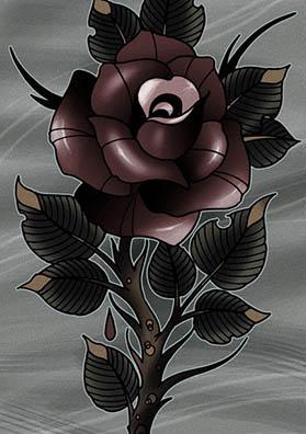 Тату эскиз роза красная