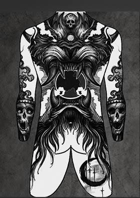 Эскиз тату на спину демон