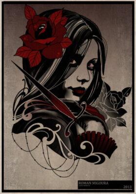 Тату эскиз девушка вампир