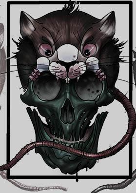 Тату эскиз череп мышь