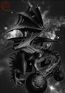 Эскиз тату дракон тьмы