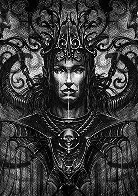 Эскиз тату темный эльф