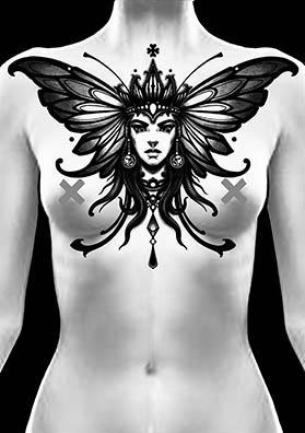 тату эскиз на груди бабочка
