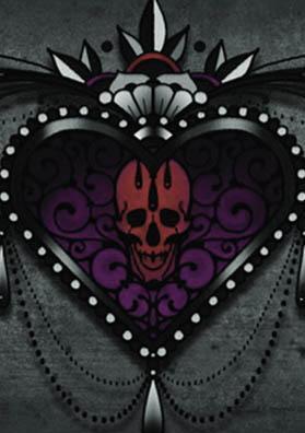 Тату эскиз фиолетовое сердце