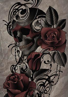 Тату эскиз череп розы и узор