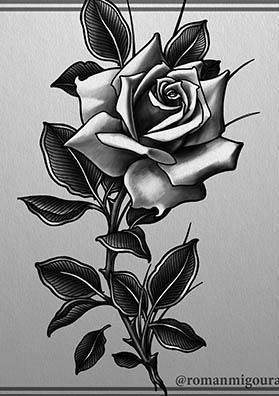 тату эскиз роза на голень