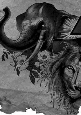 Тату эскиз лев и слон