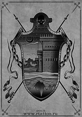 Эскиз тату герб темных