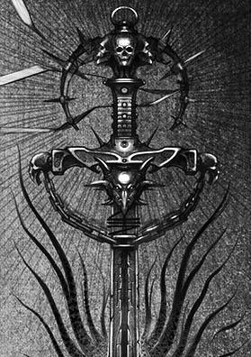 Эскиз тату меч хаоса