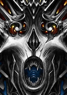 Эскиз татуировки демон огня