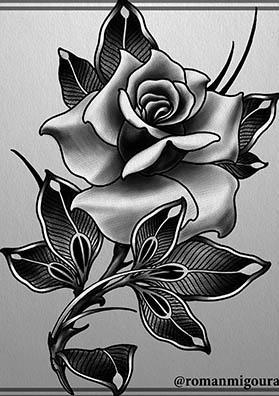 Тату эскиз роза на бедро
