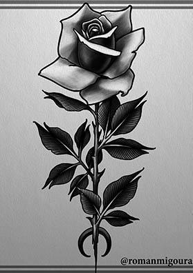 Тату эскиз роза на руку