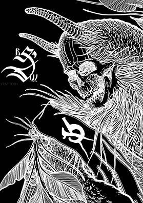 Эскиз тату птица демон