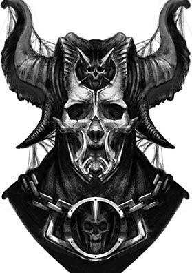 Эскиз тату демон страж