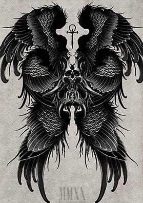 Тату эскиз на спину череп и крылья