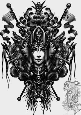 Эскиз тату царица неба