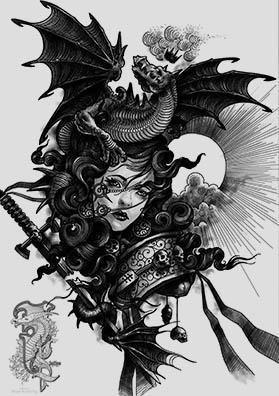 Эскиз тату повелительница драконов