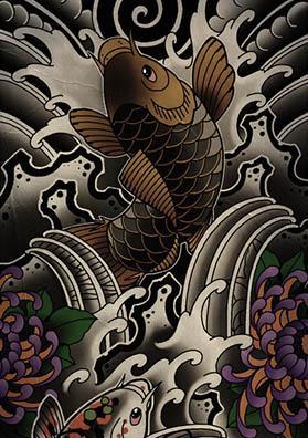Тату эскиз рукав Япония