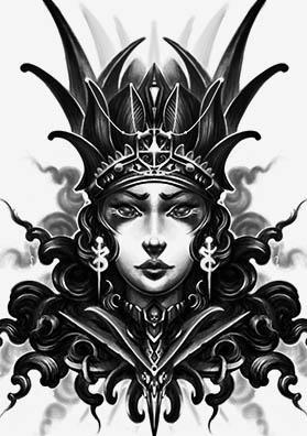 Эскиз татуировки королева
