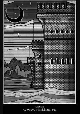 Эскиз тату замок