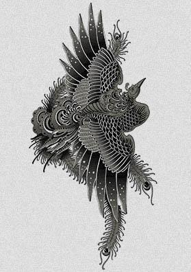 Тату эскиз птица Феникс