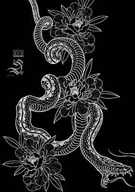Эскиз тату змея в пионах