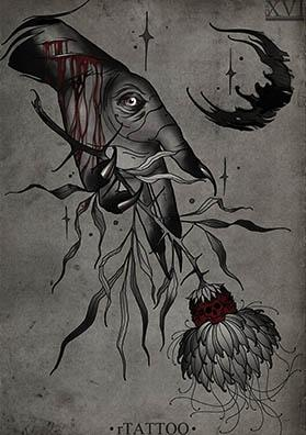 Эскиз тату темный цветок