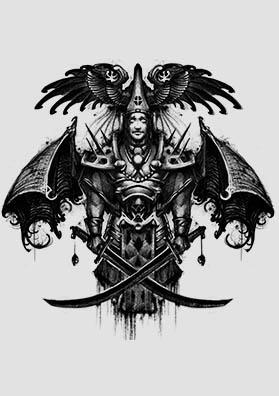 Эскиз тату демон воин