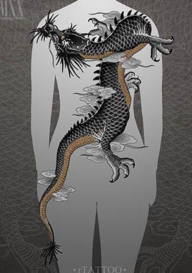 Тату эскиз на спину японский дракон