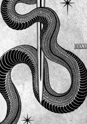 Змея фрагмент тату эскиза