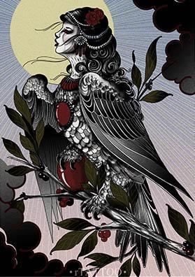 Тату эскиз птица Гамаюн