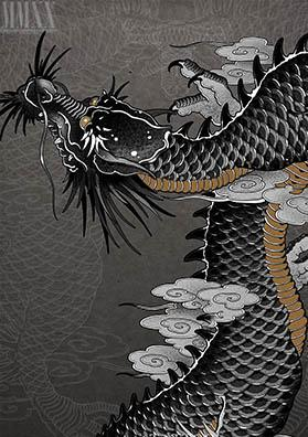 Тату эскиз японский дракон