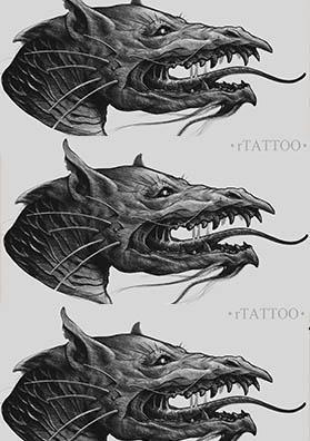 Эскиз тату голова дракона