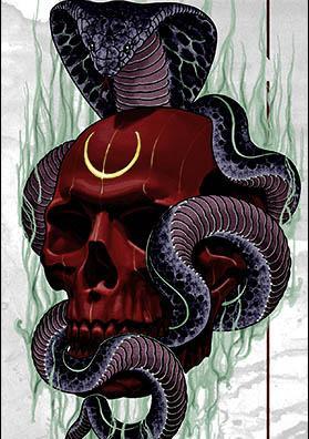 Тату эскиз череп и кобра