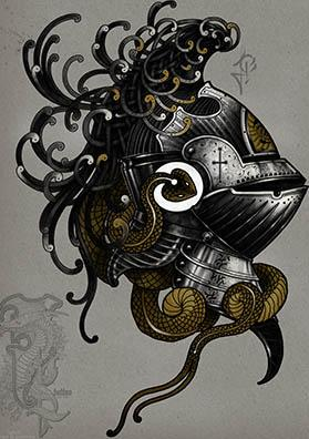 Эскиз тату рыцарский шлем и змея