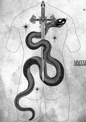 Змея и меч тату эскиз