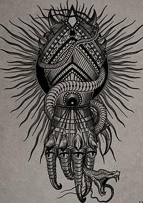 тату эскиз рыцарская перчатка и змея