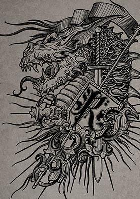 Тату эскиз герб дракон