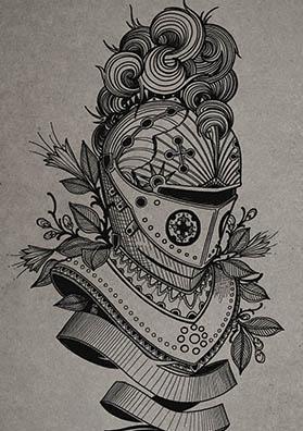 Тату эскиз шлем рыцаря