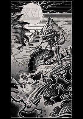 Тату эскиз морской змей